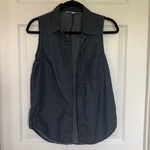 BCBGeneration split back chambray shirt sleeveless